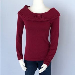WHBM Cranberry Off the Shoulder Sweater Size S